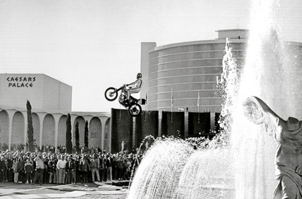 Evel Knievel failed attempt to jump the fountains at Caesars Place on December 31, 1967